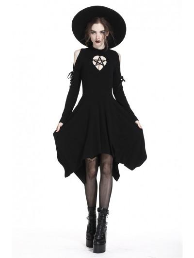 Dark in Love Black Gothic Punk Pentagram Irregular Mid-Length Dress