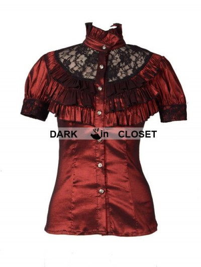 Pentagramme Wine Red High Collar Short Sleeves Lace Womens Gothic Blouse