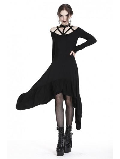 Dark in Love Elegant Black Gothic Strap Irregular Dress