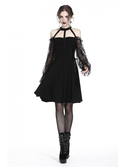 Dark in Love Elegant Black Gothic Lace Off-the-Shoulder Party Dress