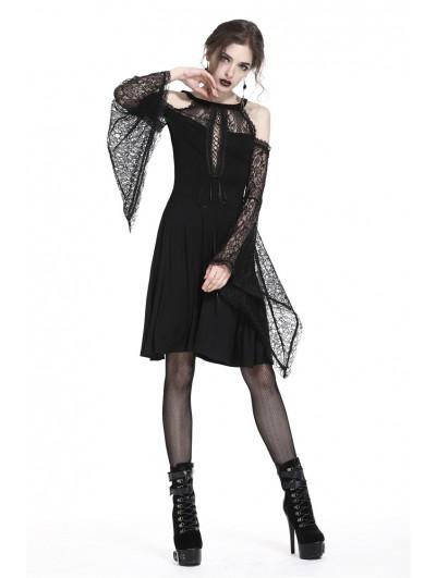 Dark in Love Elegant Black Gothic Lace Off-the-Shoulder Knitted Short Dress