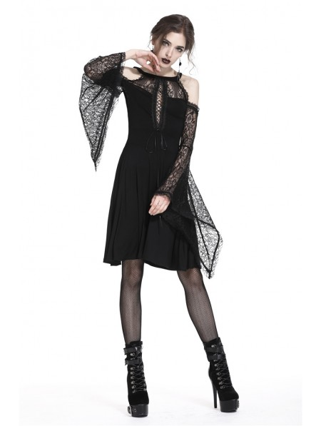 15a527d2db Dark in Love Elegant Black Gothic Lace Off-the-Shoulder Knitted Short Dress  ...