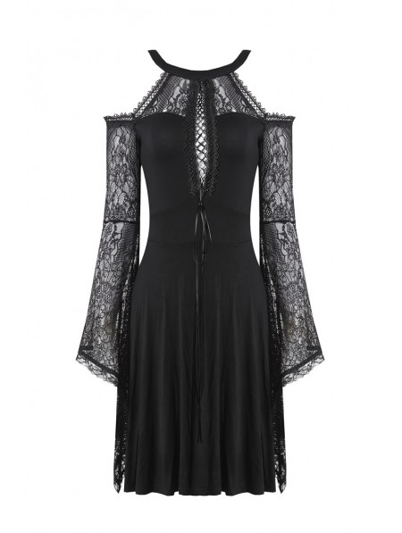 20100d22b5 ... Dark in Love Elegant Black Gothic Lace Off-the-Shoulder Knitted Short  Dress ...