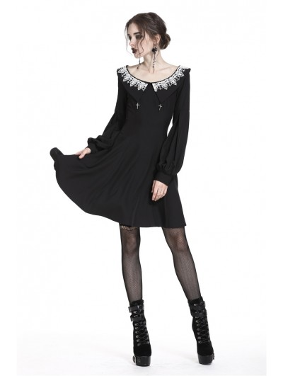 Dark in Love Black Gothic Chiffon Long Sleeves Short Dress