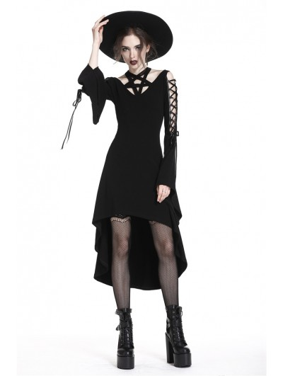 Dark in Love Black Gothic Punk Pentagram High-Low Dress