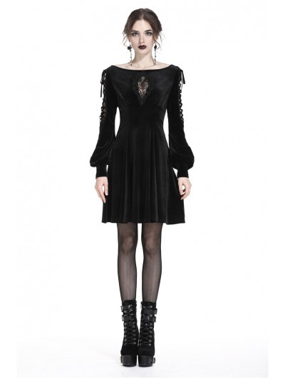 Dark in Love Black Elegant Gothic Velvet Long Sleeves Midi Dress