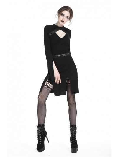 Dark in Love Black Gothic Punk Slits Sexy Short Dress