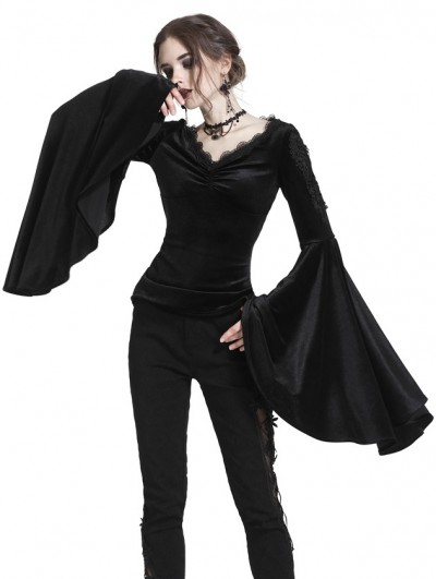 Dark in Love Black Gothic Velvet Long Trumpet Sleeves T-Shirt for Women