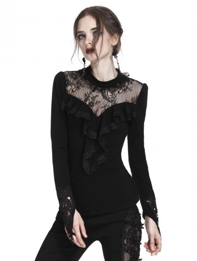 Dark in Love Black Gothic Floral Lace Long Sleeve T-Shirt for Women