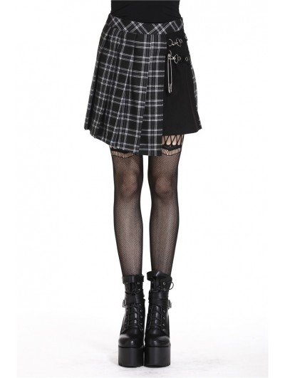 Dark in Love Black Gothic Punk Pleated Grid Irregular Hem Short Skirt