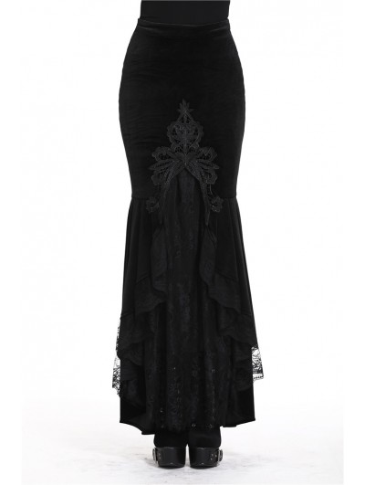 Dark in Love Black Gothic Velvet Long Fishtail skirt