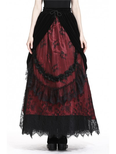 Dark in Love Romantic Gothic Black Red Velvet Lace Long Skirt