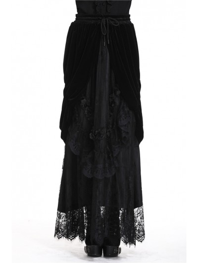 Dark in Love Romantic Gothic Black Velvet Lace Long Skirt
