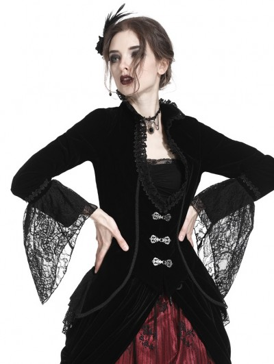 Dark in Love Black Vintage Gothic Elegant Velvet Short Jacket for Women