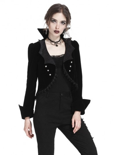 Dark in Love Black Gothic Bat Collar Velvet Short Tailed Jacket for Women