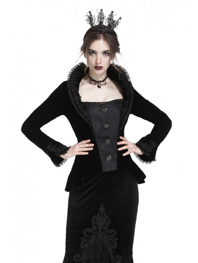 Dark in Love Black Gothic Royal Stand-up Collar Velvet Short Jacket for Women
