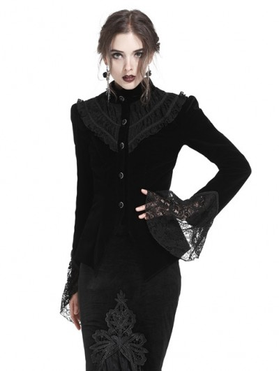 Dark in Love Black Gothic Blouse-Shape Velvet Short Jacket for Women
