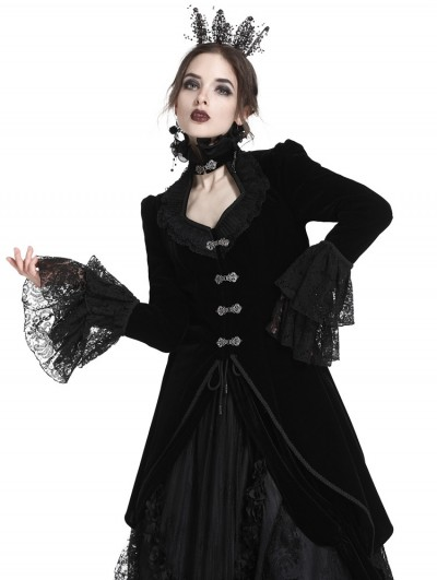 Dark in Love Black Gothic Velvet Swallow Lace Tail Jacket for Women