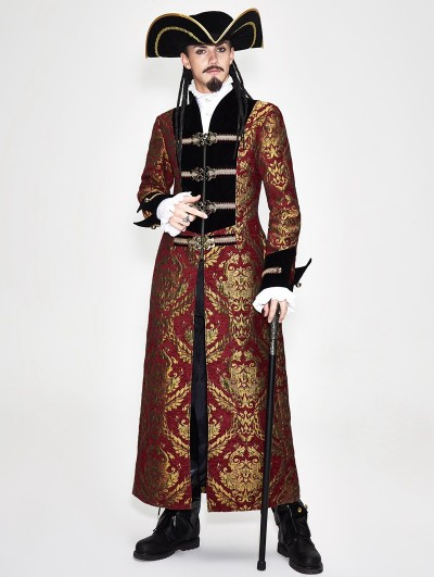 Devil Fashion Vintage Red Gothic Pirate Long Coat for Men