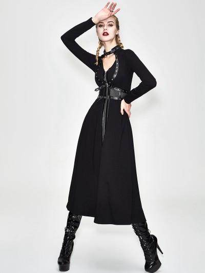 Devil Fashion Black Gothic Punk Harness Style Coat for Women