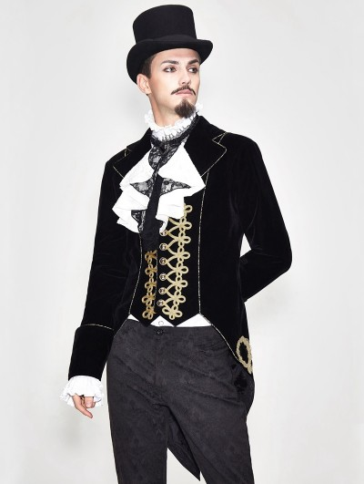 Devil Fashion Black Vintage Gothic Stage Performance Party Tail Coat for Men