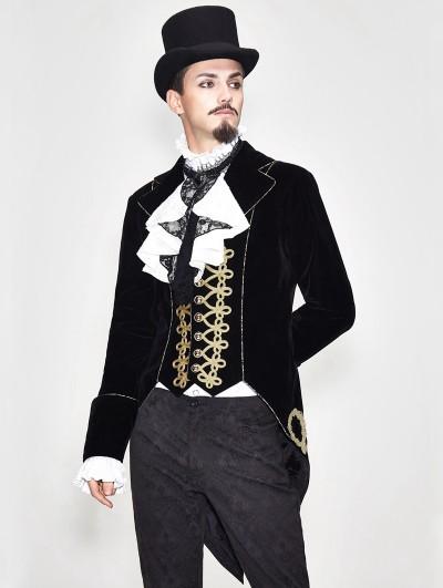 Devil Fashion Black Vintage Gothic Stage Performance Party Tail Coat for Men