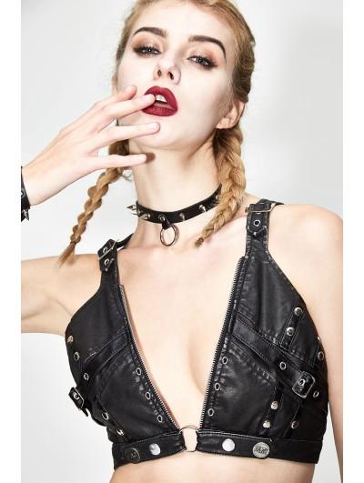 Devil Fashion Black Gothic Punk Sexy Leather Bra Top for Women