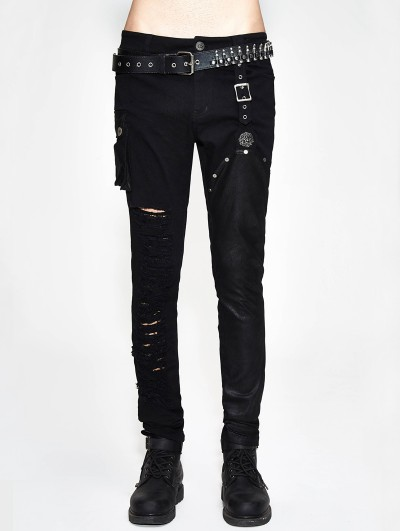 Devil Fashion Black Gothic Punk Slim Pants for Men