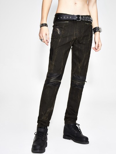 Devil Fashion Do Old Gothic Punk Slim Zipper Pants for Men