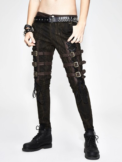 Devil Fashion Gothic Steampunk Buckle Belt Pants for Men