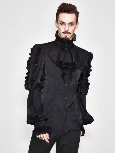 Devil Fashion Black Vintage Gothic Palace Bowtie Shirt for Men