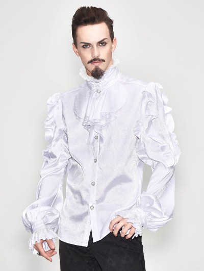 Devil Fashion White Vintage Gothic Palace Bowtie Shirt for Men