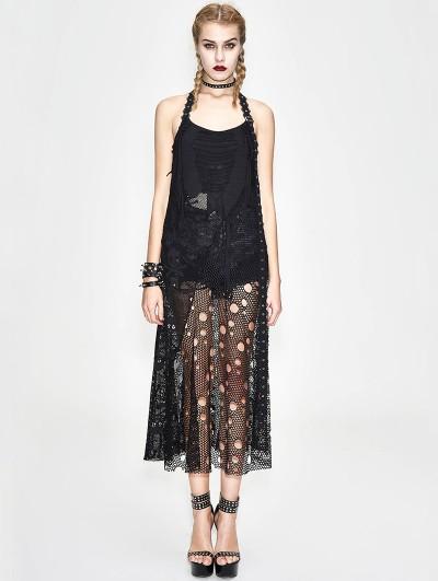 Devil Fashion Black Gothic Punk Halter Skull Net Long Dress
