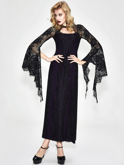 Devil Fashion Black and Purple Romantic Gothic Lace Sexy Maxi Dress
