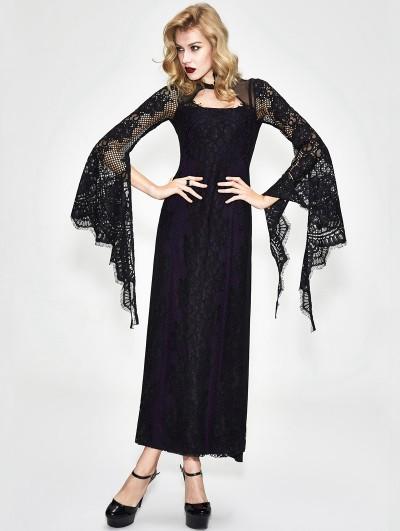 Devil Fashion Black and Purple Romantic Gothic Lace Sexy Maxi Dress