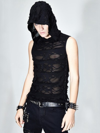 Devil Fashion Black Gothic Hooded Hole Sleeveless Top for Men