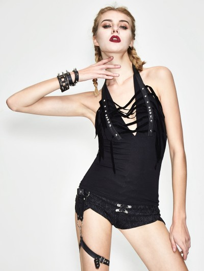 Devil Fashion Black Gothic Halter Rivet Tank Top for Women