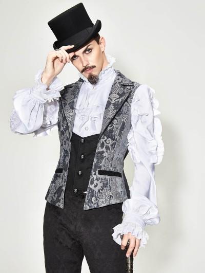 Devil Fashion Sliver Vintage Gothic Victorian Waistcoat for Men