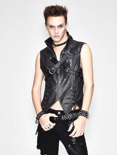 Devil Fashion Black Gothic Punk Cross Buckle Belt Vest Top for Men