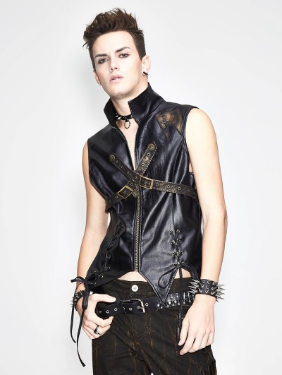 Devil Fashion Bronze Gothic Punk Cross Buckle Belt Vest Top for Men