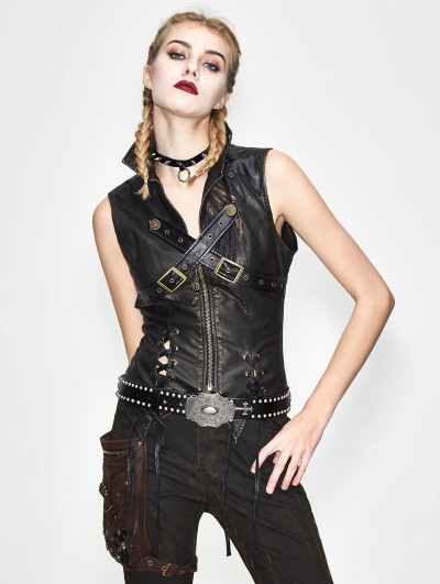 Devil Fashion Bronze Gothic Punk Cross Buckle Belt Vest Top for Women