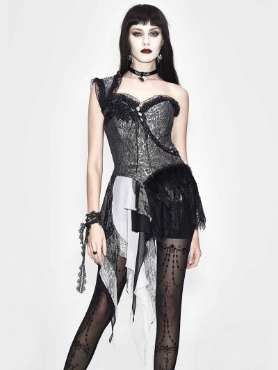 Eva Lady Sliver Vintage Pattern Gothic One-Shoulder Corset Top for Women