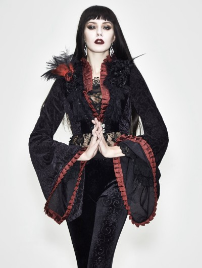 Eva Lady Black and Red Gothic Long Trumpet Sleeve Short Jacket for Women