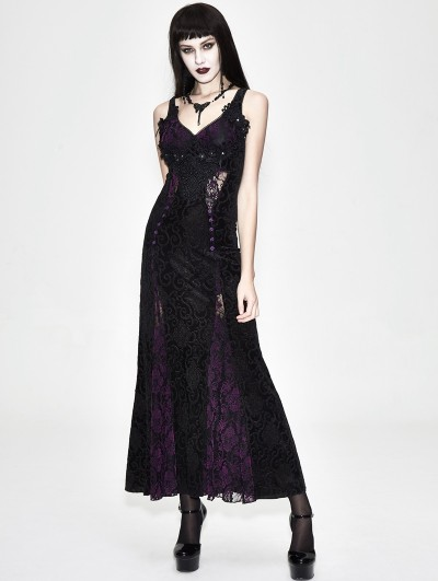 Eva Lady Black and Purple Sexy Gothic Lace Maxi Formal Dress