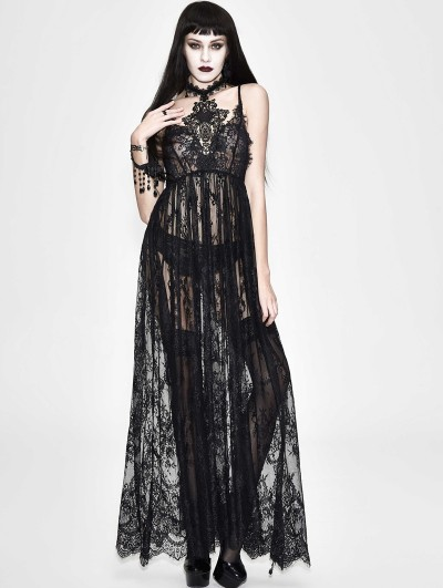 Eva Lady Black Romantic Sexy Gothic Lace Long Sheer Dress