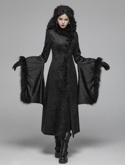 Punk Rave Black Gothic Gorgeous Jacquard Winter Warm Long Coat for Women