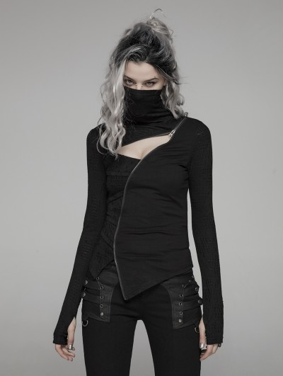 Punk Rave Black Gothic Punk Dark Turtleneck T-Shirt for Women