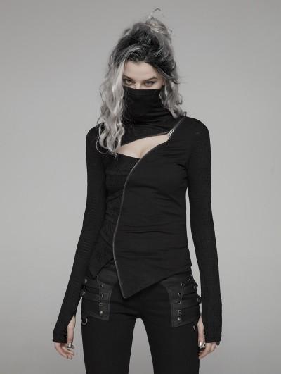 Punk Rave Black Gothic Punk Dark Turtleneck T-Shirt for Women
