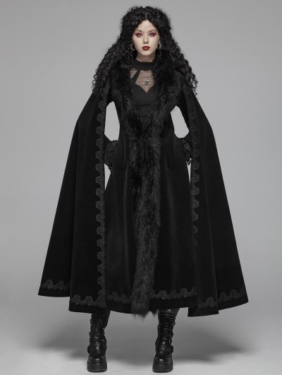 Punk Rave Black Gothic Vintage Morticia Addams Winter Warm Long Coat for Women