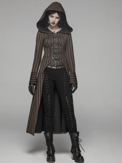 Punk Rave Brown Steampunk Striped Long Hooded Coat for Women